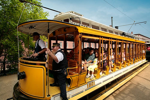 Trolley through historic Downtown Lowell